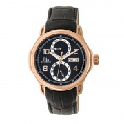 Reign Cascade Automatic Leather-Band Watch w/Day/Date - Rose Gold/Black REIRN4404