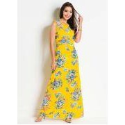 Vestido Moda Evangelica Floral com Fundo Amarelo
