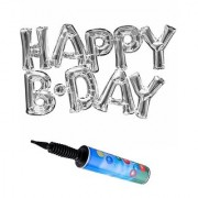 De-Ultimate Set Of Inflator Balloons Air Pump And Silver HAPPY B.DAY Alphabets Foil Balloons For Birthday Parties Decor