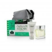 Guerlain Homme L'Eau Boisee Coffert: Eau De Toilette Spray 80ml/2.7oz + Hair And Body Wash 75ml/2.5oz + Pouch 3pcs+pouch
