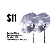 S11 Zestaw OŚWIETLENIOWY 2x 125W=600W Statyw 230cm