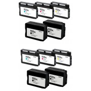 Italy's Cartridge 10 CARTUCCE HP 932XL BK/C/M/Y COMPATIBILE CON CHIP PER HP 6100 H611A 6700 6600 H711A N 4 HP 932XL BK + N 2 HP 933XL C/M/Y