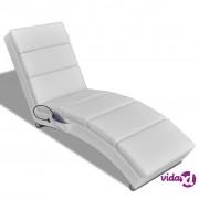 vidaXL Masažna Fotelja Umjetna Koža Bijela