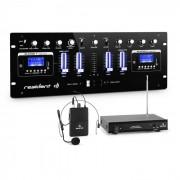 DJ405USB-BK Mixer DJ 4 Canali Incluso Set Radiomicrofono VHF con Headset