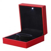 LED Lighted Jewelry Gift Box Lighting Bangle Bracelet Box Holder Case with Light for Jewelry Display (Red)