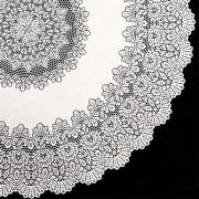 Binnen/buiten tafelkleed/tafellaken wit 152 cm rond - Ronde kanten tafelkleden Amira - Tuintafelkleed tafeldecoratie
