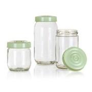 Banquet set cutii din sticlă Linzi, 3 buc, verde