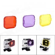 Profesional de Buceo Vivienda Yellow / Orange / Purple Filtros para GoPro Hero 3