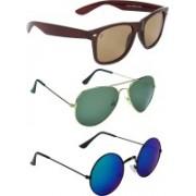 Zyaden Wayfarer, Aviator, Round Sunglasses(Brown, Green, Blue)