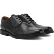 Clarks Beckfield Cap Black Leather Lace up For Men(Black)