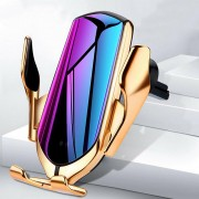 R1 Automatic Clamping Smart IR Sensor Car Wireless Charger Phone Holder Bracket [No Location] - Gold