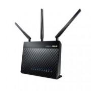 Рутер Asus RT-AC68U, 1900Mbps, 2.4GHz(600 Mbps)/5GHz(1300 Mbps), Wireless AC, 4x LAN 1000, 1x WAN 1000, 1x USB 3.0. 1x USB 2.0, 3x външни антени, 256MB RAM, 128MB Flash памет