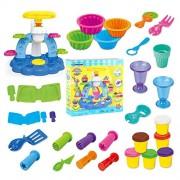 Magic Clay Ultra Light Molding Fun Little Toys Plasticine Ice Cream Machine Kitchen Cooking 30 pcs Tool Box Set with 6 Box Colors