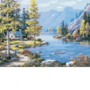 ELECTROPRIME® Acrylic Paint by Numbers Kit DIY Painting Drawing On Canvas Lakeside Lodge