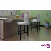 vidaXL Barske Stolice 4 kom Umjetna Koža Bijele