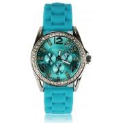 Turkusowy zegarek zdobiony kryształkami svarowskiego - widizane w mediach: Fakt Gwiazdy, Chwila dla Ciebie, Twist