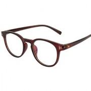 Ivonne Anti-Glare Brown Full Rim Round Eyeglass Frame