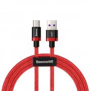 Cablu de date/incarcare Baseus, Purple Gold Red, USB Type-C, Super Charge, 2M 5 A, Rosu