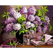 without frame, flower-143: Paint by Numbers, DIY Oil Painting Purple Flowers Canvas Print Wall Art Home Decoration Without Frame by Rihe