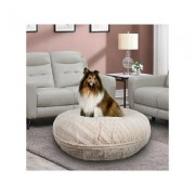 Bessie + Barnie Bagel Bolster Dog Bed w/Removable Cover, Tan, Small