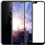 Nokia 6.1Plus Full Edge to Edge cover Full 9H Black 2.5D Curved tempered glass black By Mascot max