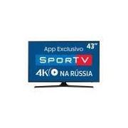 Smart TV LED 43 UHD 4K Samsung 43MU6100 com HDR Premium, Plataforma Smart Tizen, Smart View, Espelhamento de Tela, Steam Link, 3 HDMI e 2 USB