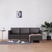 vidaXL 3-местен диван с възглавници, сив, изкуствена кожа