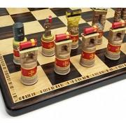 "Santa Fe TRAINS Steam vs Diesel Train Engine Chess Set W/ 17"" Ebony & Birdseye Maple Wood Board"