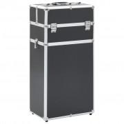 vidaXL fekete alumínium sminkbőrönd