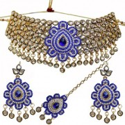 Lucky Jewellery Fancy Blue Color Kundan Gold Plating Choker Necklace Set For Girls & Women