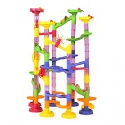 Happytime Marble Run Coaster 105 Piece Set With 75 Building Blocks Plus 30 Race Marbles. Learning Railway Construction Diy Maze Toy