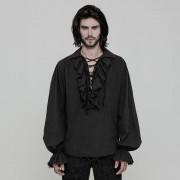 Punk Rave Romeo's Poison Ruffled Lantern Long Sleeved Shirt Black WY-873CCM