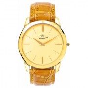 Adamo Brown Leather Round Analog Watch for Men
