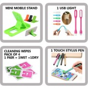COMBO OF 4 IN 1 MOBILE ACCESSORIES (1 MINI MOBILE STAND+ 1 USB LIGHT+ 4 PAIR CLEANING WIPES + 1 TOUCH STYLUS PEN)