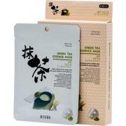 Mitomo - Green Tea - Gezichtsmasker - Japans Groene Thee Face Mask - Gezichtsverzorging - Huidverzorging - Skincare - Parabenenvrij - Biologisch - Beauty Mask - Voor een Liftend Effect - 10 Stuks