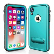 REDPEPPER Dot+ Series Dustproof Snowproof IP68 Waterproof Cell Phone Shell with Kickstand for iPhone XR 6.1 inch - Cyan