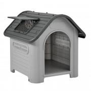 [en.casa]® Caseta para perros de plástico - gris / negro - PVC - 87 x 72 x 75,5 cm