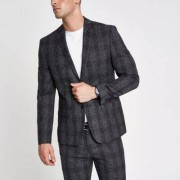River Island Mens Grey check skinny suit jacket