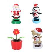 Set of 4~ 1 Penguin+ 1 Poinsettia + 1 Santa+ 1 Teddy Bear with Hat Christmas Solar Powered Toy Car Dashboard Home Decor Party Gift US Seller