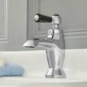 HudsonReed Mitigeur lavabo monotrou rétro – Commande levier – Chromé et noir - Elizabeth