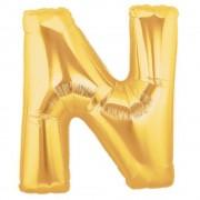 Balon folie mare litera N auriu - 86cm, Amscan 32974