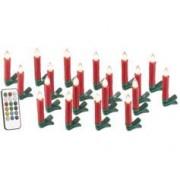 Lunartec Bougies à LED pour sapin de Noël avec télécommande infrarouge - x20 - rouge