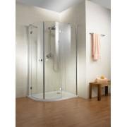 Schulte Home Accès d'angle arrondi 100 x 90 cm, verre transparent, profilé aspect chromé, version droite
