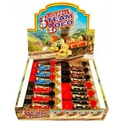 Classic Steam Locomotive Train Diecast Package - Box of 12 7 inch Scale Diecast Model Trains, Assorted Colors