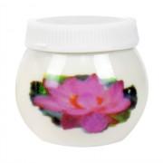 Pahar Acril din Portelan Alb cu Capac, Model Water Lily