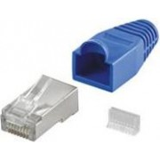NaviaTec CAT5e shielded plug for round cable incl strain relief blue 10pc, SPLUG+SR_BLU_10