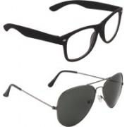 Zyaden Wayfarer, Aviator Sunglasses(Clear, Black)