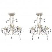 vidaXL Кристални полилеи/пендели за таван, 2 бр, елегантни, бели