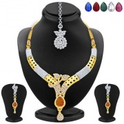 Sukkhi Sublime Gold Rhodium Plated AD Necklace Set with Set of 5 Changeable Stone For Women