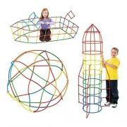 300Pcs Straw Constructor Interlocking Plastic Enginnering Toys,4D Straw Construction Kit and Connectors Building Blocks Toys - Preschool Fine Motor Skill Toys for Girls & Boys